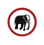 road sign warning of elephants poster