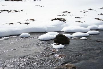 stream in winter, cairngorms, scottish highlands