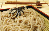 soba and chopsticks on a bamboo floor poster