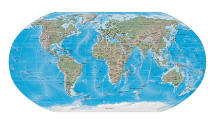 world map physical boundaries