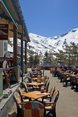 town restaurant of pradollano ski resort in spain