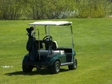 golf cart sitting on greens poster