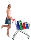 happy girl with shopping cart poster