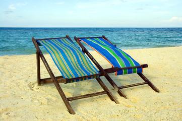 chaise longue sur la plage