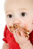 baby eating cake poster