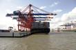 landing stage at hamburg harbor, germany