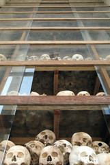 countless khmer rouge victims at choeung ek, cambo