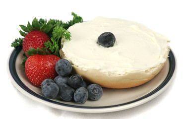 bagel & fruit isolated