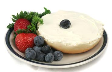 bagel & fruit isolated
