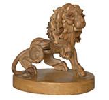 wooden lion on pedestal poster