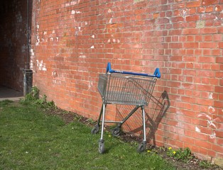 discarded supermarket trolley