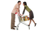 couple with shopping cart poster
