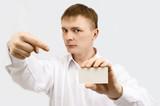 businessman show visiting card poster