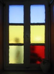stained glass, mykonos, greece