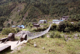 bridge to phakding village - nepal poster