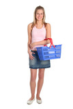 beautiful woman with shopping basket poster