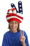 patriotic boy - peace sign poster