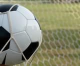 soccer ball in goal, football poster