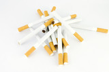 bunch of cigarettes, over white poster