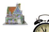 house with alarm-clock poster