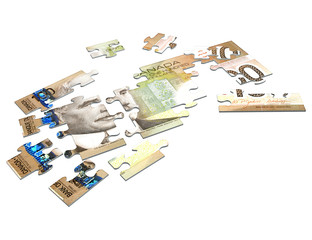 cash puzzle canadian 3d (with clipping path)