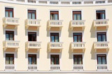 hotel balconies in thessalonica, greece poster