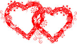 grunge valentine frame, heart poster