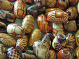 wood beads, colored beads poster