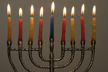 candles and menorah
