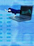 break free from technology - blue binary poster