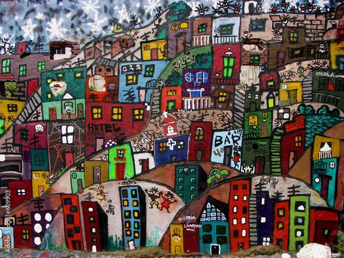 Fototapeta miejski - graffiti - Widok Miejski