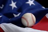 baseball on american flag poster