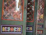 temple doors with lanterns reflected in the glass poster