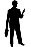 black silhouette man on white poster