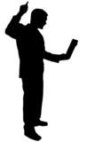 black silhouette man on white poster