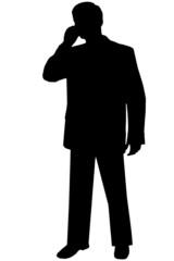 black silhouette man on white