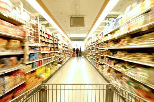 In de dag Boodschappen supermarket blur