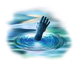 ghostly hand appearing from below the water poster