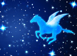 pegasus flying in night