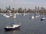 melbourne skyline and boats poster