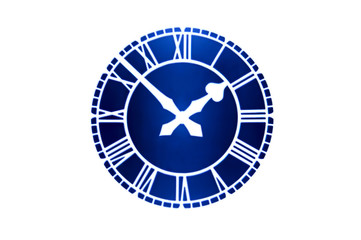 vintage blue clockface with roman numerals on a white background
