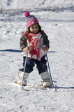 girl learning to ski