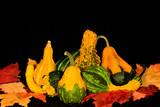 gourds & leaves centerpiece