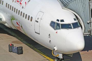 das cockpit und drei koffer