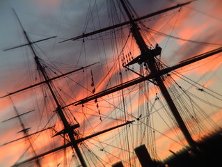 rigging at sunset
