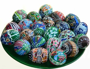 hand made colorful easter eggs