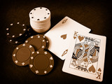 poker chips and playing cards poster