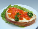 sandwich with salmon caviar poster