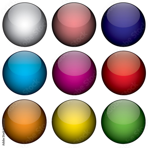 nine colorful 3d orbs