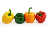 multicolored peppers lined up poster
